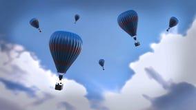 Szene 3d: Ballone der blauen Luft Stockbilder