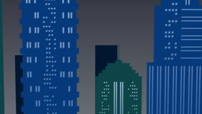 Szene der Nachtlandschaft in der Stadt in den grünen und blauen Farben stock video footage