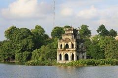Szene des Schildkröten-Kontrollturms, Hanoi Stockfotografie