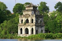 Szene des Schildkröten-Kontrollturms, Hanoi stockfotos