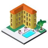 Szene des Sommerrestes in der isometrischen Ansicht mit Hotelerholungsort, Swimmingpool, sunbeds, Regenschirmen, Palme und Leuten Stockfotografie