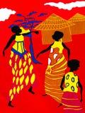 Szene des traditionellen Lebens auf einem Stück eines roten Baumwollgewebees Lizenzfreie Stockfotografie