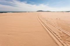 Szene einer langen Autospur auf dem Strand am sonnigen Tag Fokus in Richtung zu den niedrigeren und mittleren Zahlen Lizenzfreies Stockbild