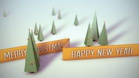 Szene mit dem Band, das frohe Weihnachten und guten Rutsch ins Neue Jahr sagt Stockfoto