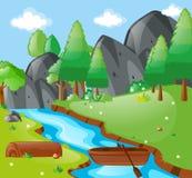 Szene mit Fluss und Bergen Lizenzfreie Stockfotos