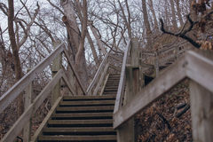 Szene mit hölzerner Treppe im Herbstwald Lizenzfreies Stockbild