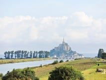 Szene mit mont Heiligmichel-Abtei, Normandie Lizenzfreie Stockbilder