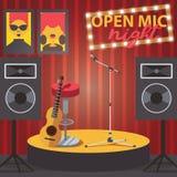 Szene mit offenem mic, Gitarre, Mikrofon und Audiosprechern Quadratische Zusammensetzung des Vereininnenraums vektor abbildung