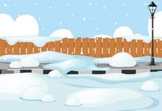 Szene mit Schnee auf der Straße Stockfotos