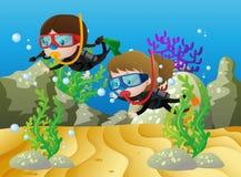 Szene mit zwei Mädchen, die unter dem Meer tauchen stock abbildung