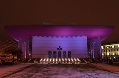 Szene nationalen Theaters Bukarests Nacht stockfoto
