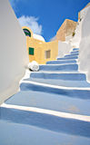 Szene vom Oia-Dorf auf Santorini Insel stockfoto
