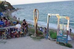 Szene vom Strandleben in Vama Veche in Rumänien Stockfoto