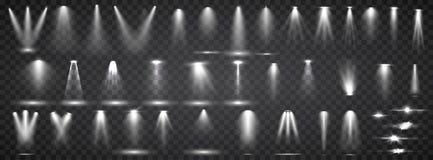 Szenenbeleuchtungssammlung Helle Beleuchtung des gro?en Satzes mit Scheinwerfern Stellenbeleuchtung des Stadiums lizenzfreie abbildung