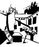 Szenenstraßenillustration Übergeben Sie gezogener Tintenlinie Skizze europäische alte Stadt Odessa, historische Architektur mit F Lizenzfreie Stockfotos