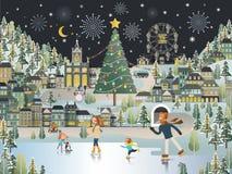 Szenentapete der Schnee-Dorf-Landschaftsheiligen nacht vektor abbildung
