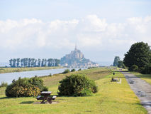 Szenisch mit mont Heiligmichel-Abtei, Normandie Stockfotos