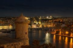 Szenische Ansicht über die drei Städte von Malta Lizenzfreies Stockfoto