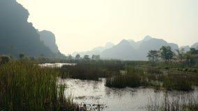 Szenische Ansicht der schönen Karstlandschaft, Sumpfgebiete stock footage