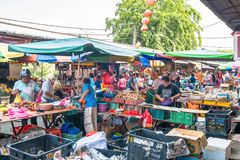 Szenische Ansicht des Morgenmarktes in Ampang, Malaysia Lizenzfreie Stockbilder