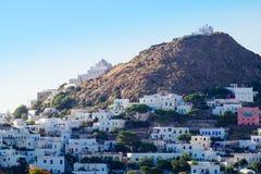 Szenische Ansicht des traditionellen griechischen Dorfs Plaka, Griechenland lizenzfreie stockbilder