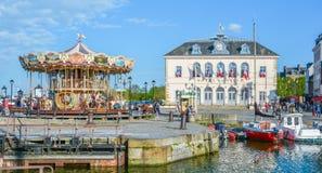 Szenische Ansicht in Honfleur, Küstendorf in der Bass-Normandie, Frankreich Stockfotos