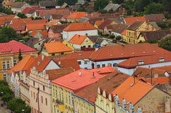 Szenische Ansicht mittelalterlicher Slavonice-Stadt in der Tschechischen Republik Bunte Gebäude mit roten Ziegeldächern Slavonice stockfotos