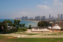Szenische Ansicht Tel Avivs vom Amphitheater im Abrasha-Park Telefon Aviv-Jaffa, Israel stockbilder