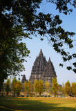 Szenische Ansicht vom Prambanan Tempel stockbild