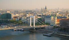 Szenische Ansicht von der Donau und von Plage von Buda-Hügeln, Budapest, Ungarn Lizenzfreie Stockfotos