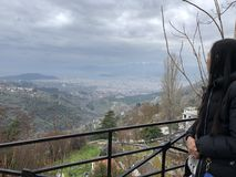 Szenische Ansicht von Volos von Makrinitsa Stockfotografie