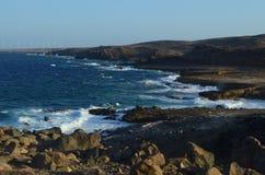 Szenische Ansichten eines Windparks in Aruba auf der Küste Lizenzfreie Stockfotos