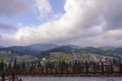 Szenische Berglandschaft Bukovel Stockfotografie