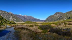 Szenische Berglandschaft entlang Kea Point Track im Aoraki-Berg-Koch National Park Lizenzfreie Stockfotos