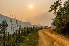 Szenische Berglandschaft Laos lizenzfreies stockfoto
