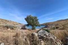 Szenische Bucht nahe dem Eingang zum Unterwelt Grieche mythlology Stockbilder