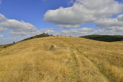 Szenische Frühherbstlandschaft mit Landstraße über Hügel Stockfotos