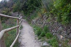 Szenische gehende Spur in CInque Terre Stockbild