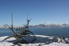 Szenische Küste in Reykjavik Stockbild