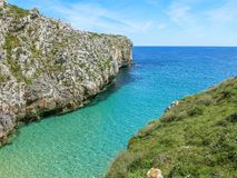 Szenische Küstenlinie an Cabo De Mrz, zwischen Llanes und Ribadesella, Asturien, Nord-Spanien Lizenzfreie Stockbilder