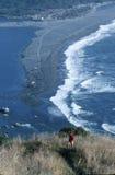 Szenische Küstenlinie von der Höhe übersehen Stockfotos