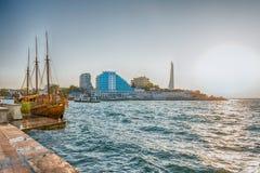 Szenische Seeseite von Sewastopol, Krim Stockfotografie