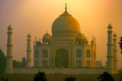 Szenische Sonnenuntergangansicht Taj Mahals in Agra, Indien Lizenzfreie Stockbilder