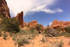 Szenische Spur. Bögen Nationalpark, Utah, USA Stockfotografie