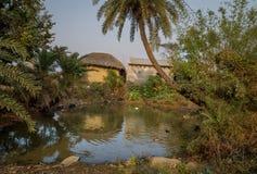 Szenischer Dorfteich mit dem Entenschwimmen umgeben mit Schlammhäusern an einem indischen Dorf Stockfotografie