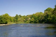Szenischer Fluss Ribble in Lancashire Großbritannien Stockfotografie