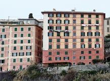 Szenischer Mittelmeer-Riviera-Küste Panoramablick von Camogli zu Lizenzfreie Stockbilder
