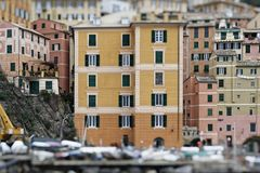 Szenischer Mittelmeer-Riviera-Küste Panoramablick von Camogli zu Lizenzfreies Stockfoto