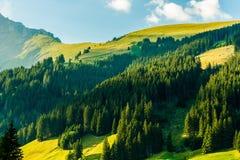 Szenischer Schweizer Alpen-Sonnenuntergang Lizenzfreie Stockfotos
