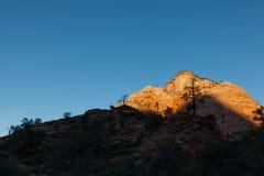 Szenischer Sonnenaufgang bei Zion National Park Stockfotos